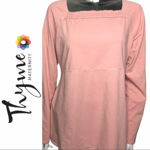 Thyme Maternity Knit Top Long Sleeve Pink